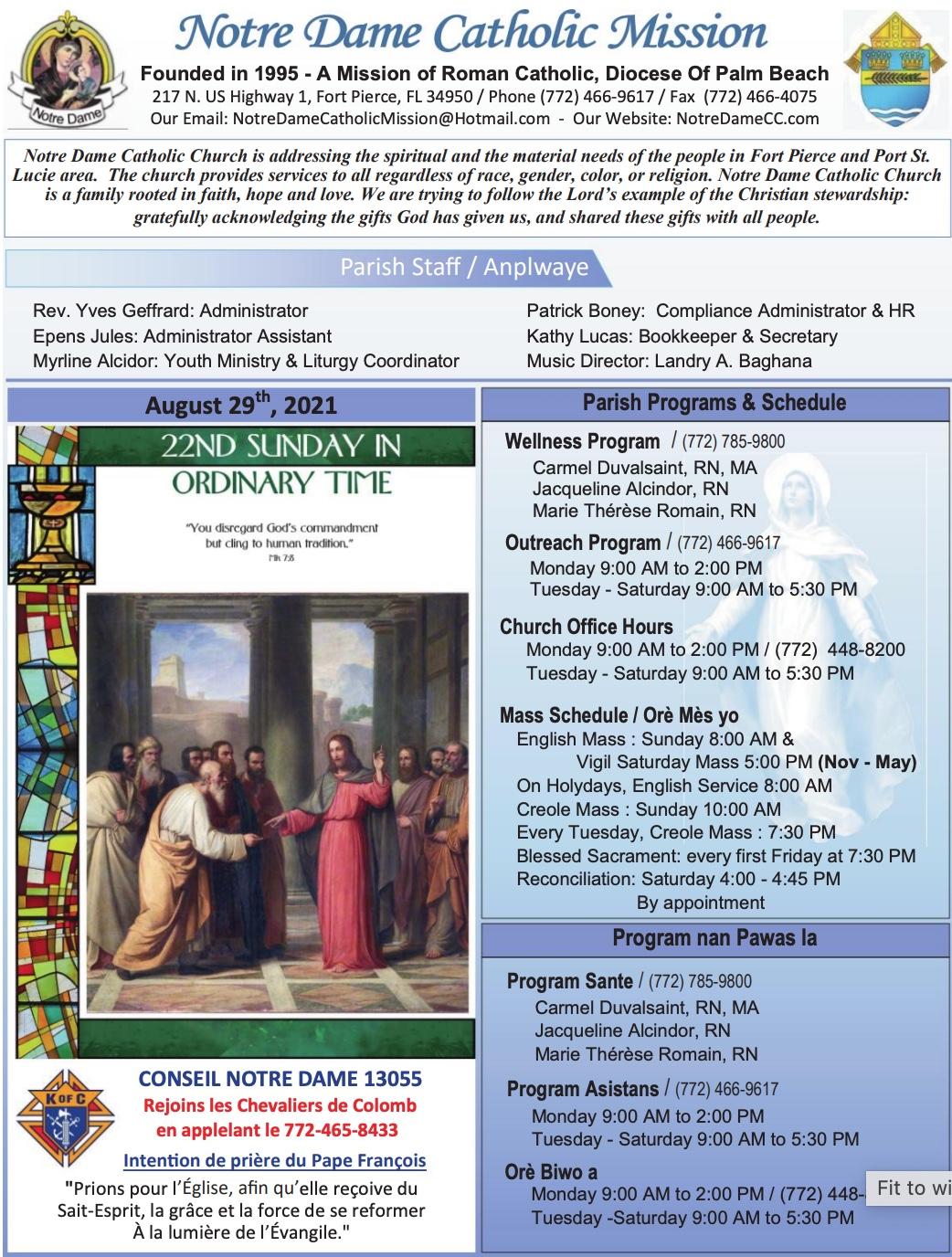 Aug 29, 2021 Bulletin